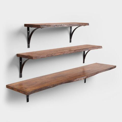 Organic Edge Wood Mix & Match Wall Shelves | World Mark