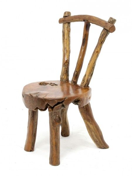 Rustic Wooden Chair | Chair, Log chairs, Wooden a