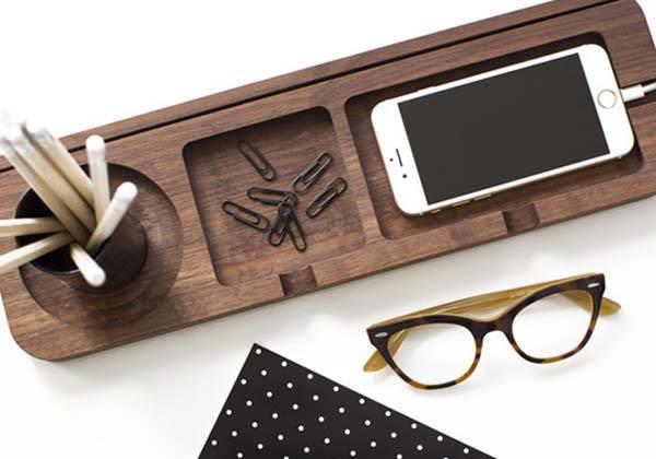 Handmade Platform 3 Wooden Desk Organizer | Gadgets