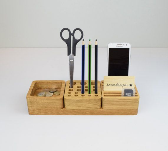 Stackable Wooden Desk Organiser Desk Tidy Oak by BeamDesigns .