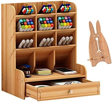 Amazon.com : Marbrasse Wooden Desk Organizer, Multi-Functional DIY .