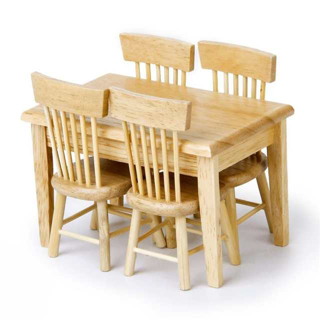 5pcs 1/12 mini house Miniature Dining Table Chair Wooden Furniture .