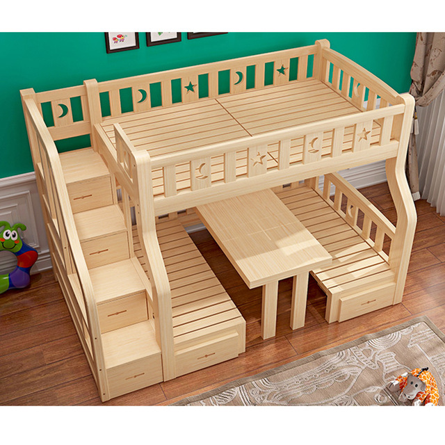 Reliable And Good Wooden Furniture Children Bunk Bed With Table .