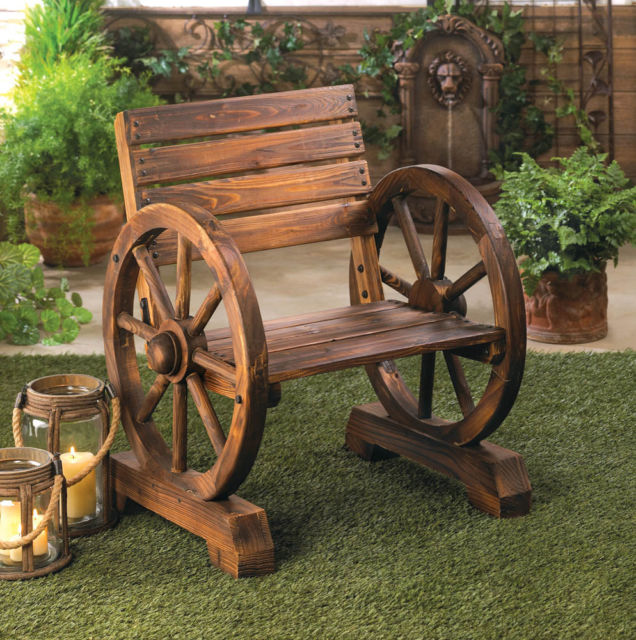 rustic wood wooden WAGON WHEEL outdoor garden patio furniture .