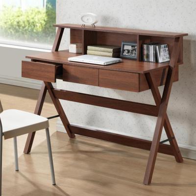 Baxton Studio 43.2 in. Oak Rectangular 3 -Drawer Writing Desk with .