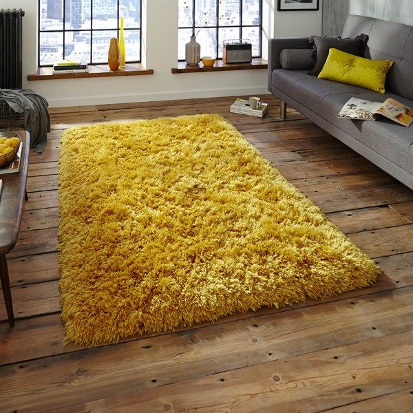 Polar pl95 shaggy rugs in yellow buy online from the rug seller uk .
